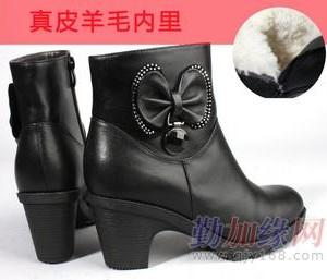 皮鞋 皮毛一体真皮羊毛女靴子羊毛里保暖短靴粗跟圆头女棉鞋 女鞋 皮鞋