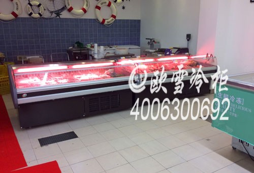 东莞市烤肉保鲜柜敞开式供应肥牛餐厅展示食材紫叶罗勒可以吃吗图片
