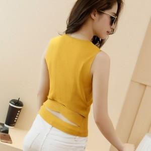镂空 针织背心女16夏季新款韩版性感圆领打底衫短款修身显瘦外