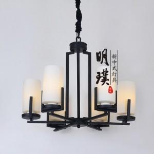 明璞新中式铁艺吊灯 客厅玻璃吊灯 工程新中式铁艺吊灯厂家
