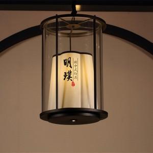 餐厅新中式铁艺吊灯 玻璃现代中式吊灯 圆形中式吊灯代理批发