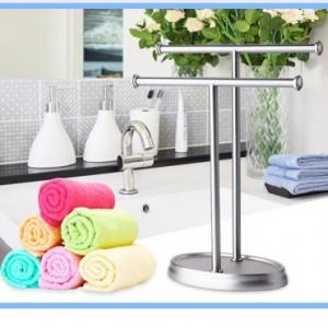 304不锈钢落地双层杆手巾毛巾挂浴巾架浴室折叠卫生间置物架挂