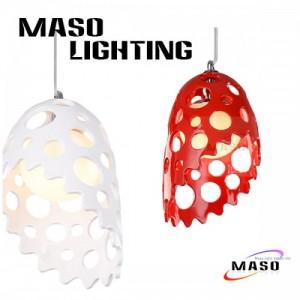 玛斯欧家居灯饰***树脂生产鹅蛋玻璃红色圆孔镂空工艺LED吊灯