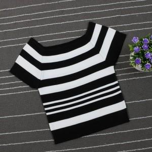2016夏季新款T恤针织衫短款女装条纹套头高腰显瘦簿款短袖打