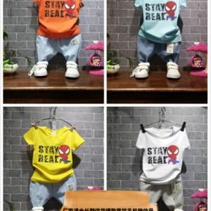 厂家直销几块钱十元以内童装印花T恤衫短袖裤子套装批发童装批发