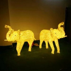 灯熠供应公园装饰动物灯、滴胶大象造型灯、马图案灯画