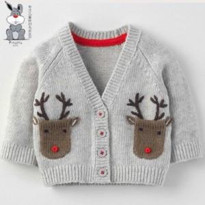 3-8岁儿童全棉针织开衫V领毛衣 儿童毛衣批发