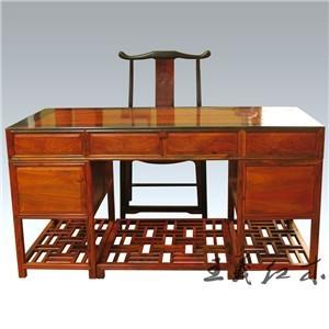 威海全套系列大红酸枝办公桌 王义红木艺术家具