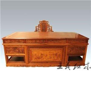 临沂榫卯构造缅甸花梨办公桌 王义红木艺术文化家具