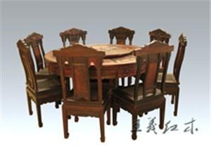 威海款式新颖大红酸枝餐桌 红木家具源于独具匠心