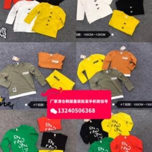 阿里巴巴童装批发厂家直销秋冬季中小童长袖T恤卫衣批发货到付款