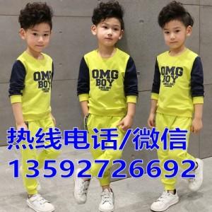 春秋季新款男女童套装加绒 中小儿童卫衣抓绒2件套韩版外套