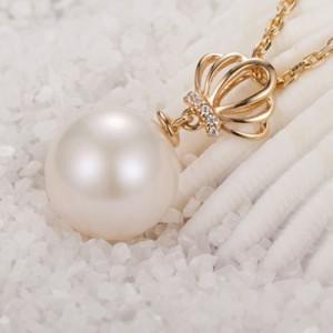 珍珠项链 925纯银饰品 韩式皇冠吊坠空托 厂家加工定制