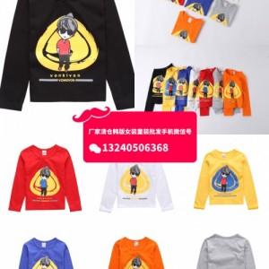 浙江湖州织里童装批发市场特价便宜卡通印花童装套装长袖T恤卫衣