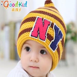 韩版提花护耳毛线针织帽_婴幼儿童帽尾货批发