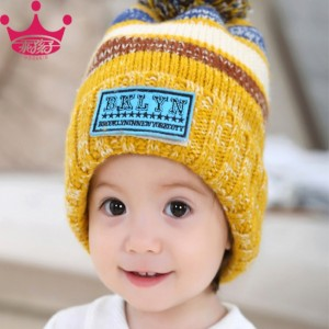 男女婴儿童毛线针织造型帽_红色太阳帽帽子批发
