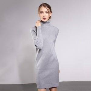 秋冬季新款大码女装连衣裙中长款高领毛衣套头韩版修身针织打底衫