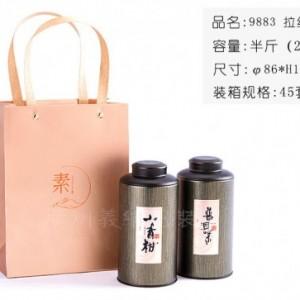 广州茶叶包装 马口铁9883拉丝绿半斤2罐装茶叶礼盒定制批发