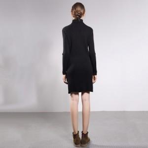厂家直销纯色套头真丝连衣裙气质修身小翻领针织半身裙中长款