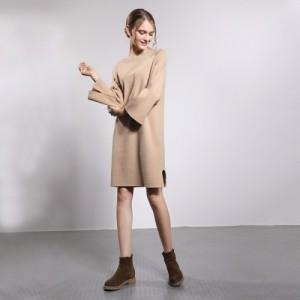厂家直销纯色套头雪纺长裙气质修身小翻领针织连衣裙中长款