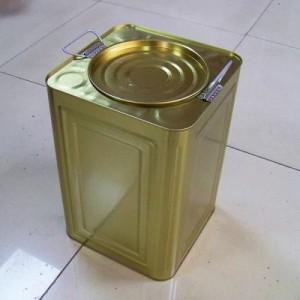 18升马口铁大口方罐 金色饼干罐 通用天地盖糖果茶叶陈皮储物