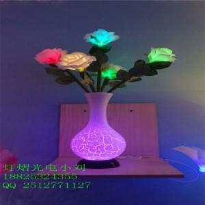 家用照明 五朵玫瑰花瓶小夜灯 玫瑰壁灯装饰灯