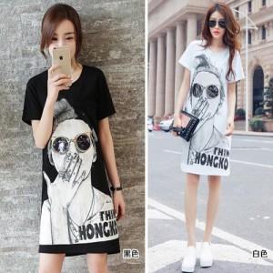 韩版加长版T恤衫批发时尚潮流女装T恤衫批发2017新款时髦