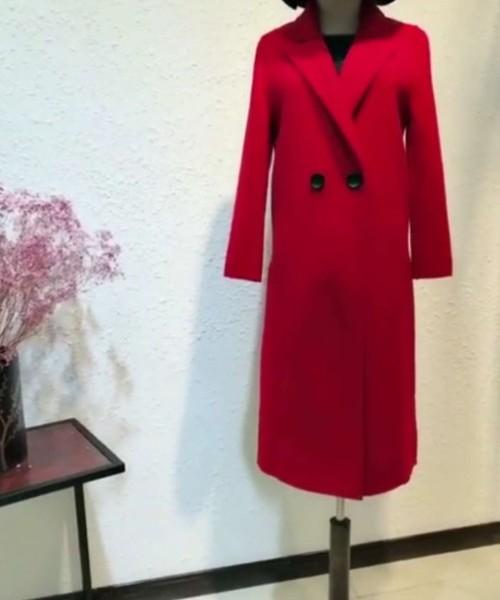 北京高端璐语诗双面羊绒大衣品牌女装折扣批发