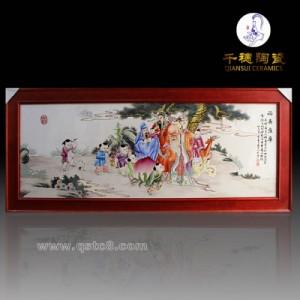 客厅大厅青花瓷挂画瓷板画 定做红木家具镶嵌瓷盘图片 款式