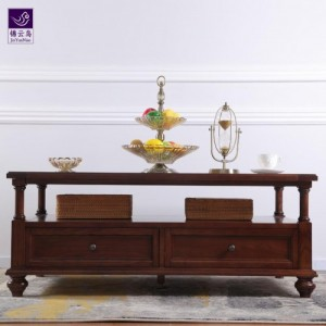 武汉品牌家具锦云鸟美式简约茶几白蜡木实木四抽茶几客厅欧式茶几