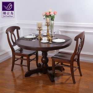 武汉品牌家具锦云鸟 餐桌圆桌家用餐厅圆形实木欧式白蜡木原木饭