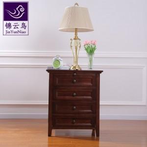 武汉现代家具锦云鸟美式实木四抽床头柜简易床边柜欧式床头储物柜