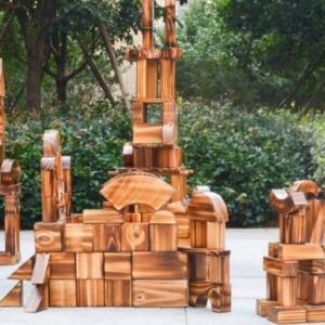 儿童炭烧积木.实木碳化积木.幼儿园儿童玩具.益智玩具.原木积