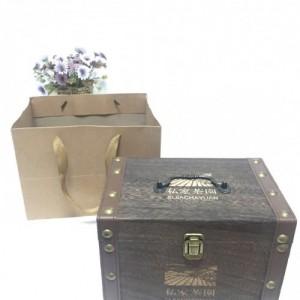 山东通久瑞供应烧色茶叶礼品盒古树普洱木质礼盒 现货内外包装袋