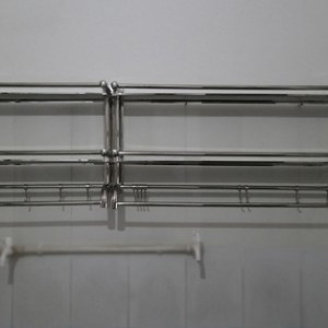 新款学校浴室不锈钢双层置物架