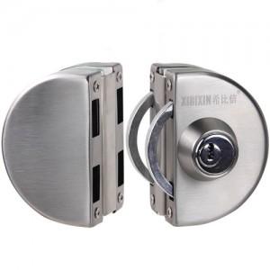供应玻璃门锁推拉双开门免开孔 木框锌合金框玻璃门锁厂家