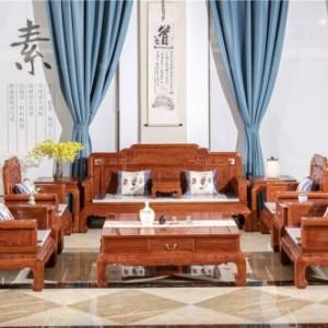 东阳红木家具厂-红木沙发-国色天香11件套组合-明式家具