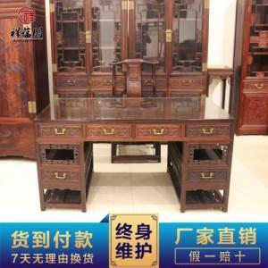 东阳红木家具 印尼黑酸枝红木办公桌三件套 中式书桌大班台批发