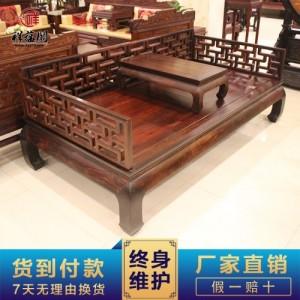 上海祥蕴阁红木家具罗汉床两件套 老挝大红酸枝罗汉床贵妃椅定制