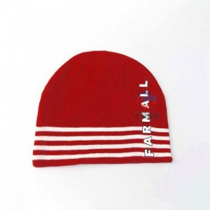 印刷字母logo冬季保暖毛线帽子 提花条纹套头针织帽定做
