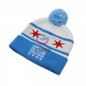 冬季保暖腈纶毛球翻边针织帽子定做工厂 提花logo毛线冬帽