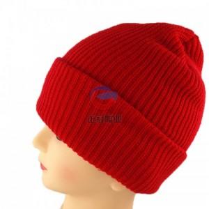 大红色亚克力毛线帽子订做 四角翻边卡夫帽子 女式针织帽