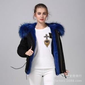 厂家直销皮草外套女新款真貉子毛领保暖棉服短款潮流派克服大衣