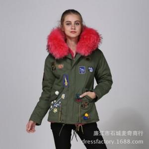 秋冬新品皮草内胆外套短款派克服女貉子毛领韩版保暖棉服一件代发