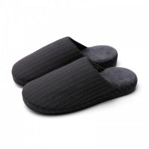 朴西居家条纹保暖日式短毛绒情侣包头棉拖鞋女
