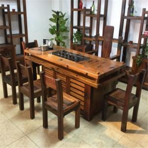 现代新中式家具老船木茶桌椅组合办公室茶台洽谈桌泡茶桌功夫茶几