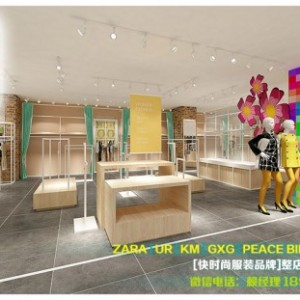 广州市八千里货架公司主题式服装货架陈列布局方案分享