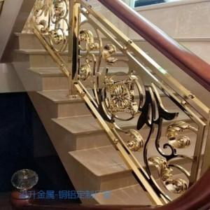 新田订做会所镀金铜楼梯扶手 铜楼梯护栏厂家