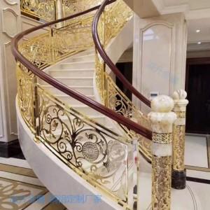 四川别墅铜楼梯栏杆 镀金铜楼梯护栏 铜楼梯扶手厂家直销