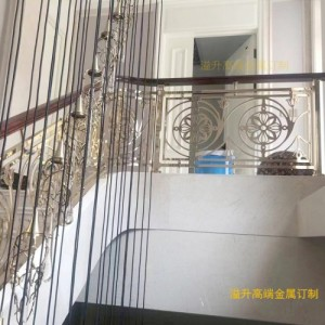 溢升镀金铜楼梯扶手 镀金铜楼梯护栏装饰豪华别墅酒店